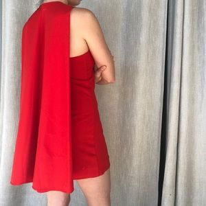 Red Caped Dress